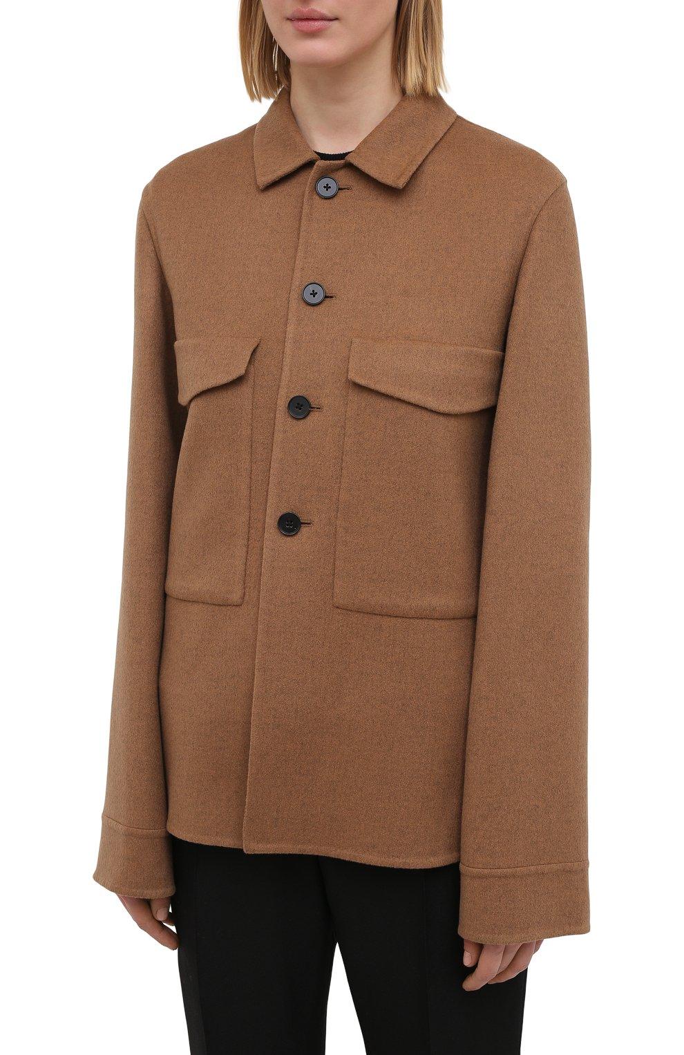 Женский кашемировый жакет JIL SANDER коричневого цвета, арт. JSPS150185-WS100903   Фото 3