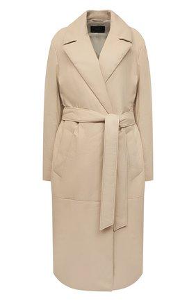 Женское кожаное пальто JOSEPH светло-бежевого цвета, арт. JF005240 | Фото 1