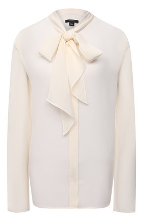 Женская шелковая блузка JOSEPH светло-бежевого цвета, арт. JF005231 | Фото 1 (Длина (для топов): Стандартные; Рукава: Длинные; Материал внешний: Шелк; Женское Кросс-КТ: Блуза-одежда; Стили: Бохо; Принт: Без принта)