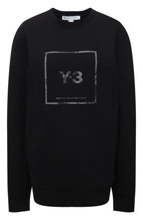 Женский хлопковый свитшот Y-3 черного цвета, арт. GV6057/W | Фото 1