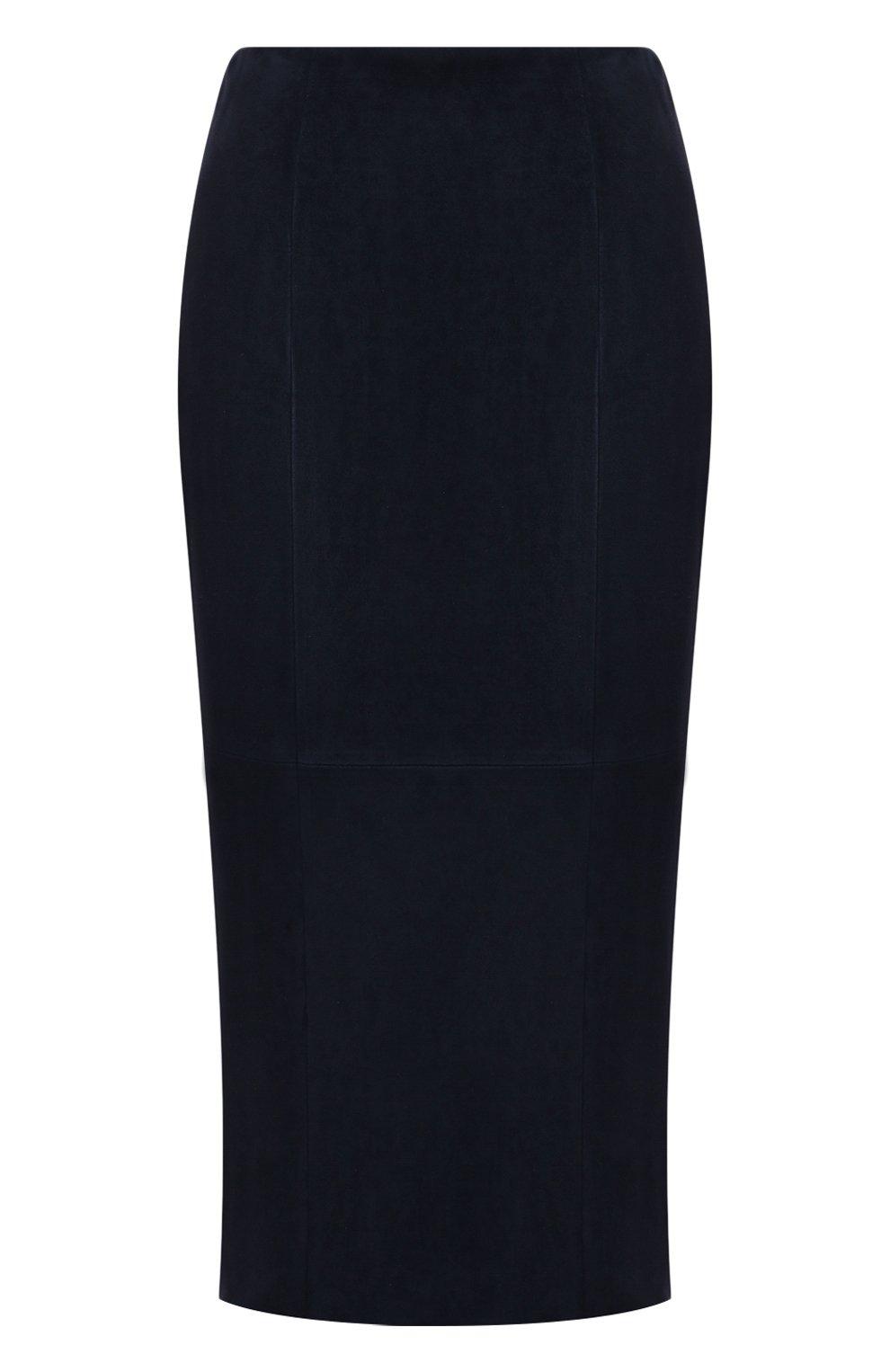 Женская замшевая юбка RALPH LAUREN темно-синего цвета, арт. 290842613 | Фото 1