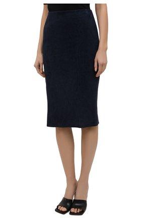 Женская замшевая юбка RALPH LAUREN темно-синего цвета, арт. 290842613 | Фото 3