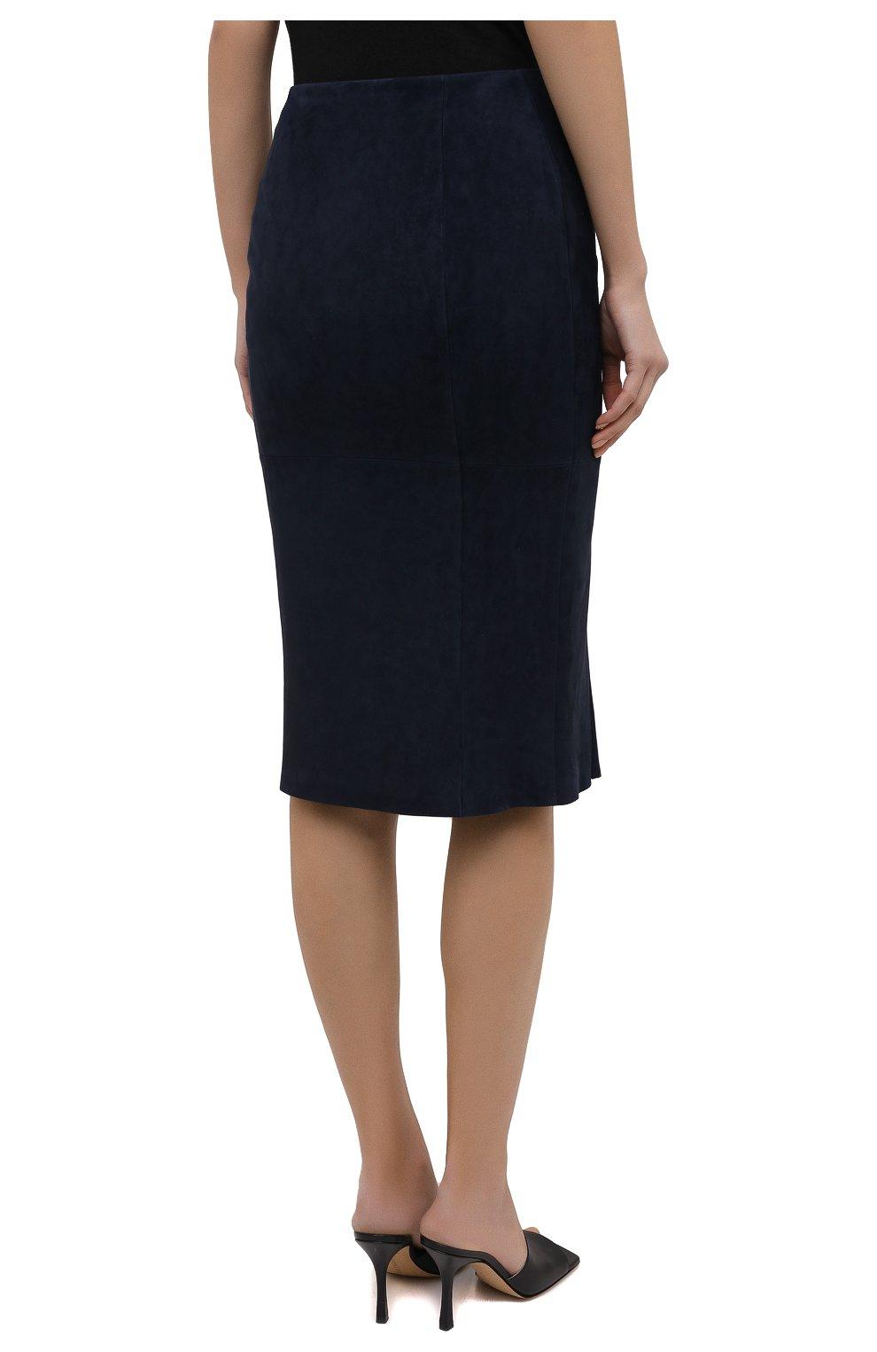 Женская замшевая юбка RALPH LAUREN темно-синего цвета, арт. 290842613 | Фото 4