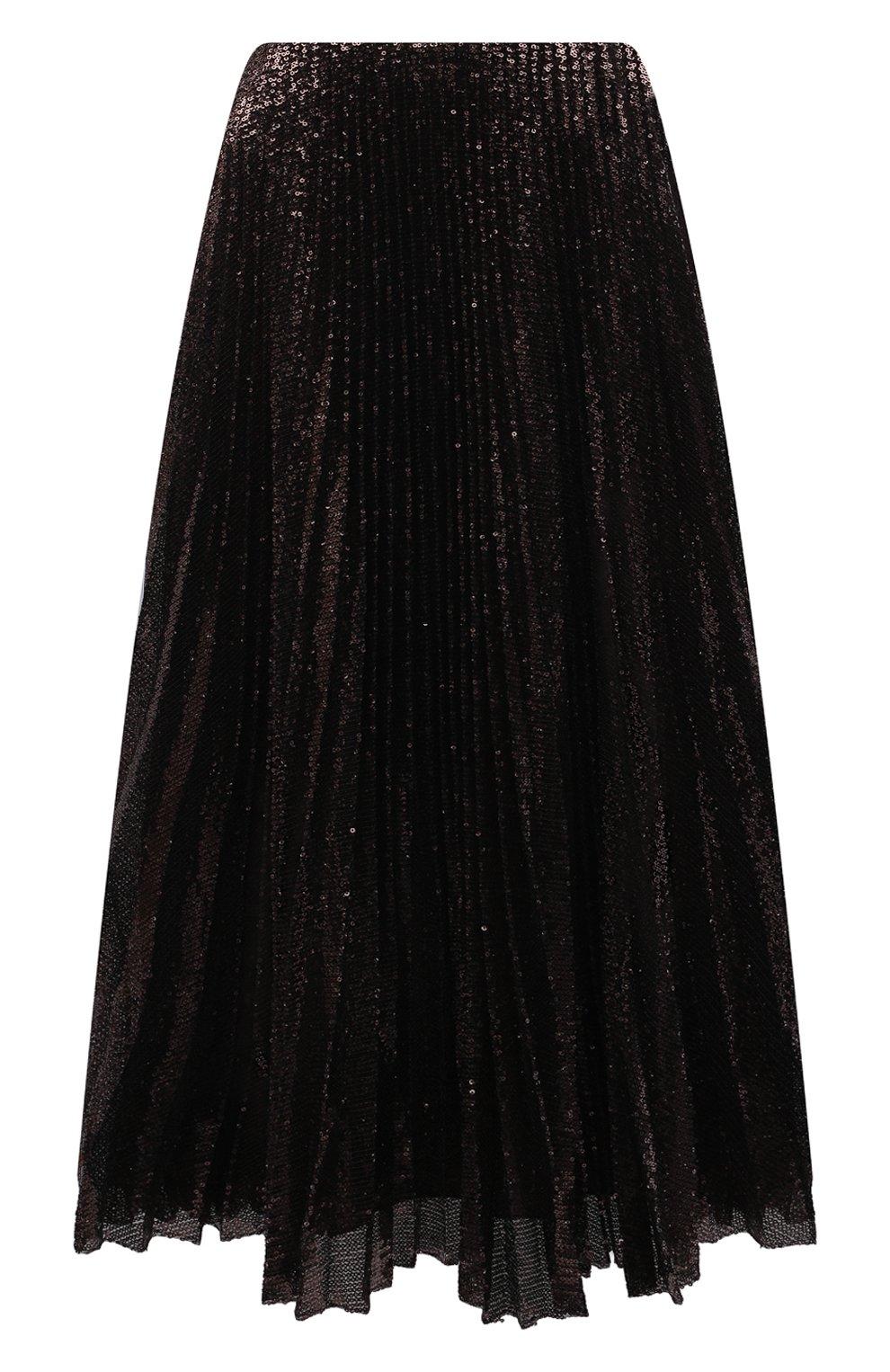 Женская плиссированная юбка с пайетками RALPH LAUREN коричневого цвета, арт. 290840909 | Фото 1