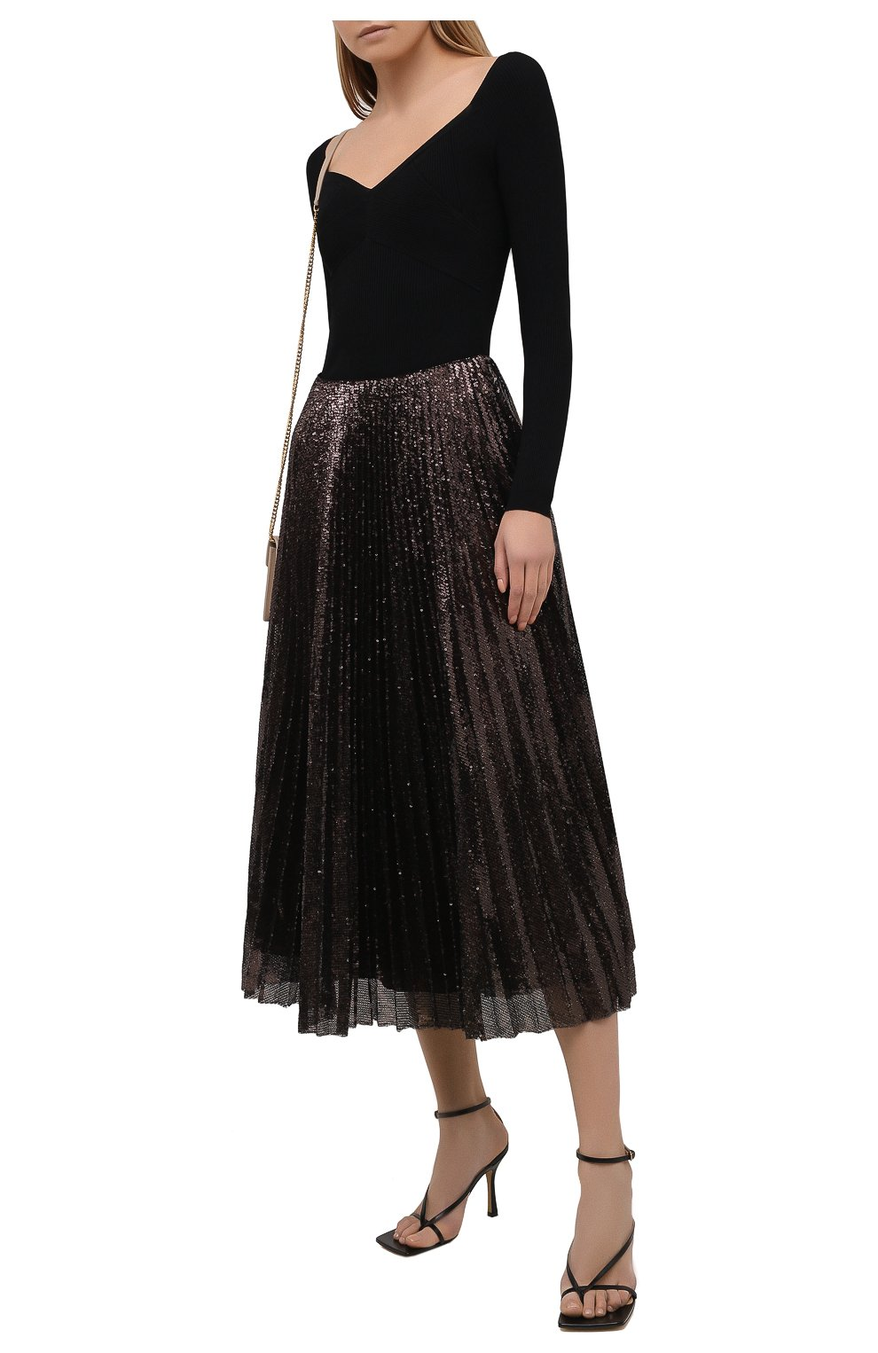 Женская плиссированная юбка с пайетками RALPH LAUREN коричневого цвета, арт. 290840909 | Фото 2