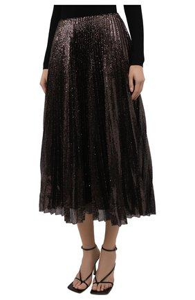 Женская плиссированная юбка с пайетками RALPH LAUREN коричневого цвета, арт. 290840909 | Фото 3