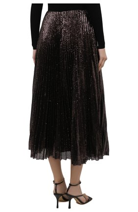 Женская плиссированная юбка с пайетками RALPH LAUREN коричневого цвета, арт. 290840909 | Фото 4