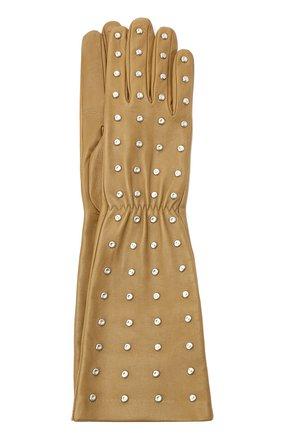 Женские кожаные перчатки BOTTEGA VENETA бежевого цвета, арт. 649948/3V00F | Фото 1 (Длина (верхняя одежда): Длинные)