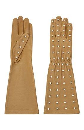Женские кожаные перчатки BOTTEGA VENETA бежевого цвета, арт. 649948/3V00F | Фото 2 (Длина (верхняя одежда): Длинные)