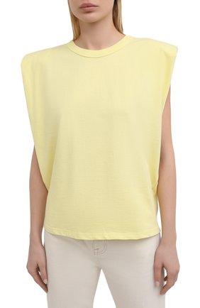 Женская хлопковая футболка THE FRANKIE SHOP желтого цвета, арт. TS EVA KR 07 | Фото 3