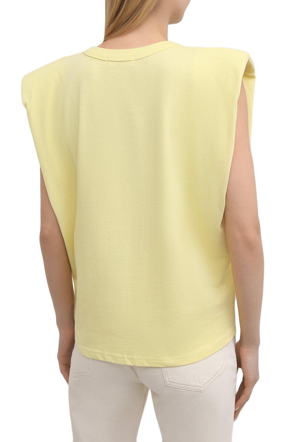 Женская хлопковая футболка THE FRANKIE SHOP желтого цвета, арт. TS EVA KR 07 | Фото 4