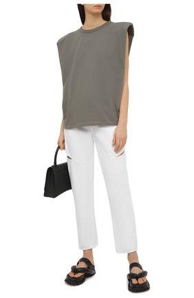 Женская хлопковая футболка THE FRANKIE SHOP хаки цвета, арт. TS EVA KR 07 | Фото 2