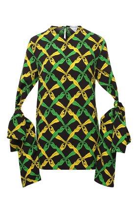 Женская блузка из вискозы BOTTEGA VENETA разноцветного цвета, арт. 651003/V0G60 | Фото 1 (Принт: С принтом; Материал внешний: Вискоза; Длина (для топов): Удлиненные; Рукава: Длинные; Женское Кросс-КТ: Блуза-одежда; Стили: Романтичный)