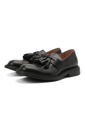 Мужские кожаные лоферы BOTTEGA VENETA черного цвета, арт. 651311/V00H0 | Фото 1 (Материал внутренний: Натуральная кожа; Мужское Кросс-КТ: Лоферы-обувь; Стили: Кэжуэл)