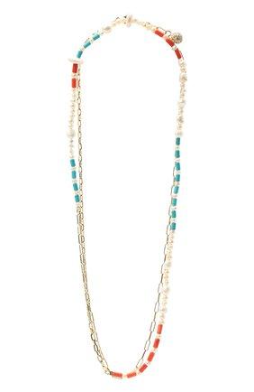 Женское колье морской бриз HIAYNDERFYT разноцветного цвета, арт. 1403.01.10 | Фото 1 (Материал: Стекло, Металл)