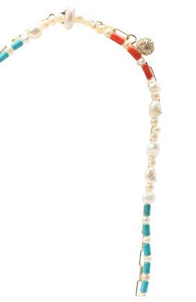 Женское колье морской бриз HIAYNDERFYT разноцветного цвета, арт. 1403.01.10 | Фото 3 (Материал: Стекло, Металл)