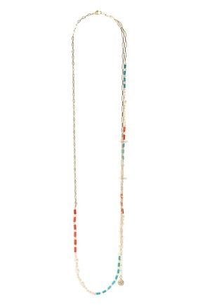 Женское колье морской бриз HIAYNDERFYT разноцветного цвета, арт. 1403.01.10 | Фото 4 (Материал: Стекло, Металл)