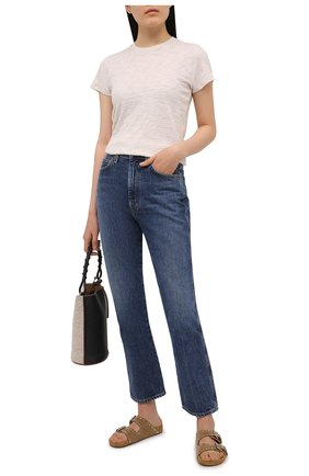 Женская хлопковая футболка ATM ANTHONY THOMAS MELILLO бежевого цвета, арт. AW1145-FK | Фото 2