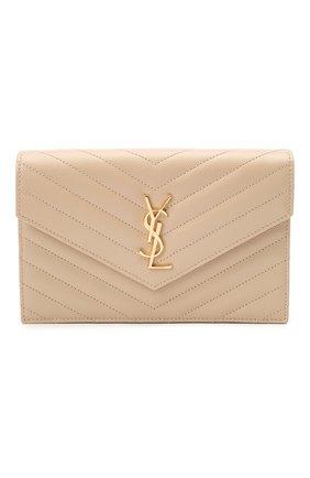 Женская сумка monogram envelope mini  SAINT LAURENT светло-бежевого цвета, арт. 393953/B0W01 | Фото 1