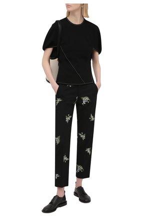 Женские брюки из хлопка и шерсти REDVALENTINO черного цвета, арт. VR3RBD45/5M4 | Фото 2