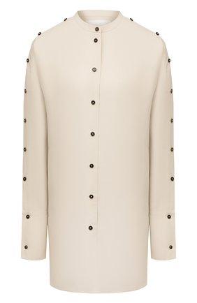Женская рубашка из вискозы и шелка JIL SANDER светло-бежевого цвета, арт. JSPS601104-WS391900   Фото 1