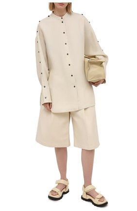 Женская рубашка из вискозы и шелка JIL SANDER светло-бежевого цвета, арт. JSPS601104-WS391900   Фото 2