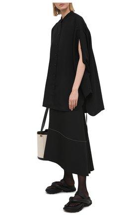 Женская рубашка из вискозы и шелка JIL SANDER черного цвета, арт. JSPS601104-WS391900   Фото 2