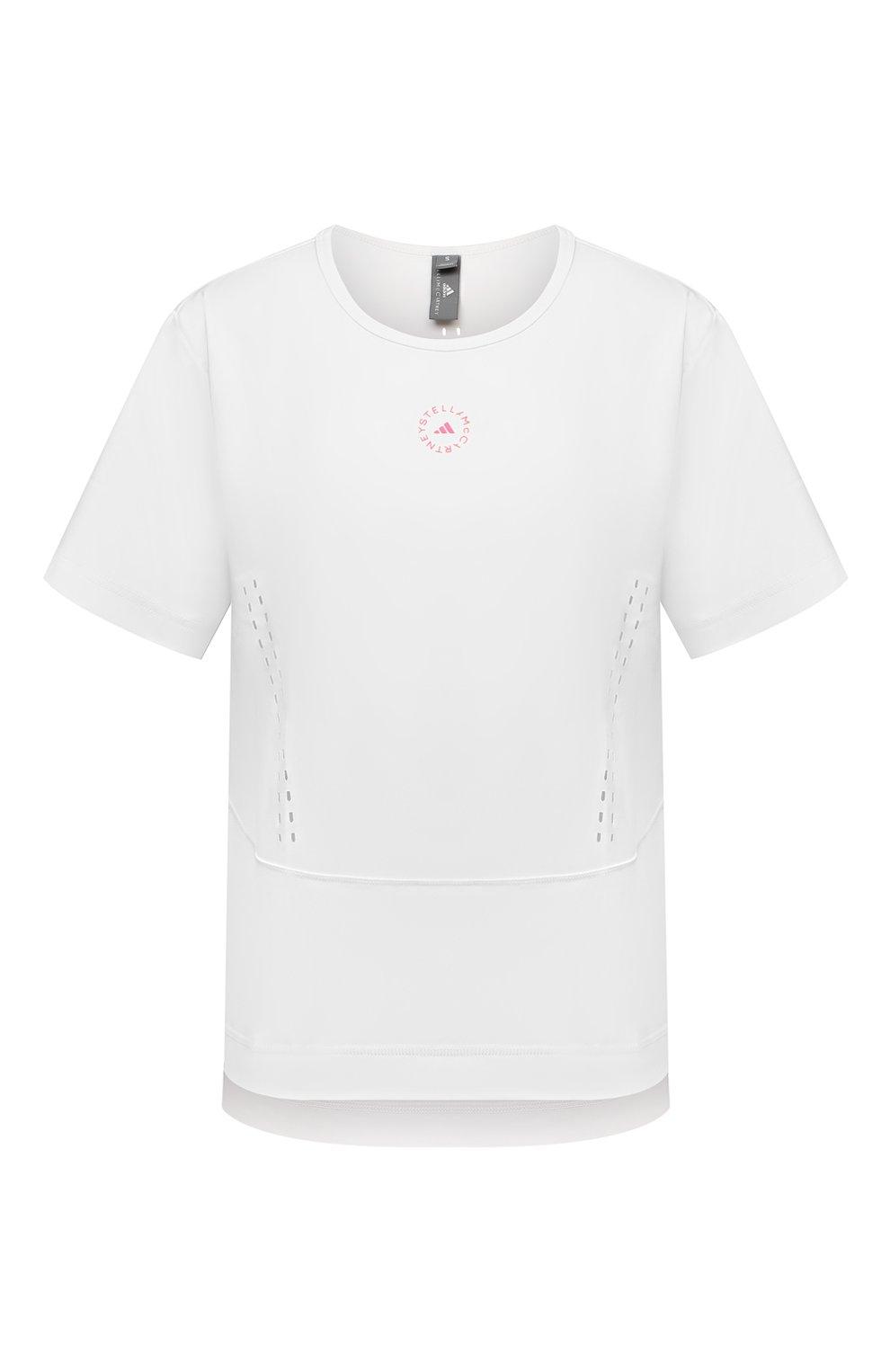Женская футболка ADIDAS BY STELLA MCCARTNEY белого цвета, арт. GL5270 | Фото 1 (Женское Кросс-КТ: Футболка-спорт, Футболка-одежда; Рукава: Короткие; Материал внешний: Синтетический материал; Длина (для топов): Стандартные; Принт: С принтом; Стили: Спорт-шик)