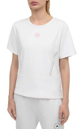 Женская футболка ADIDAS BY STELLA MCCARTNEY белого цвета, арт. GL5270 | Фото 3 (Женское Кросс-КТ: Футболка-спорт, Футболка-одежда; Рукава: Короткие; Материал внешний: Синтетический материал; Длина (для топов): Стандартные; Принт: С принтом; Стили: Спорт-шик)