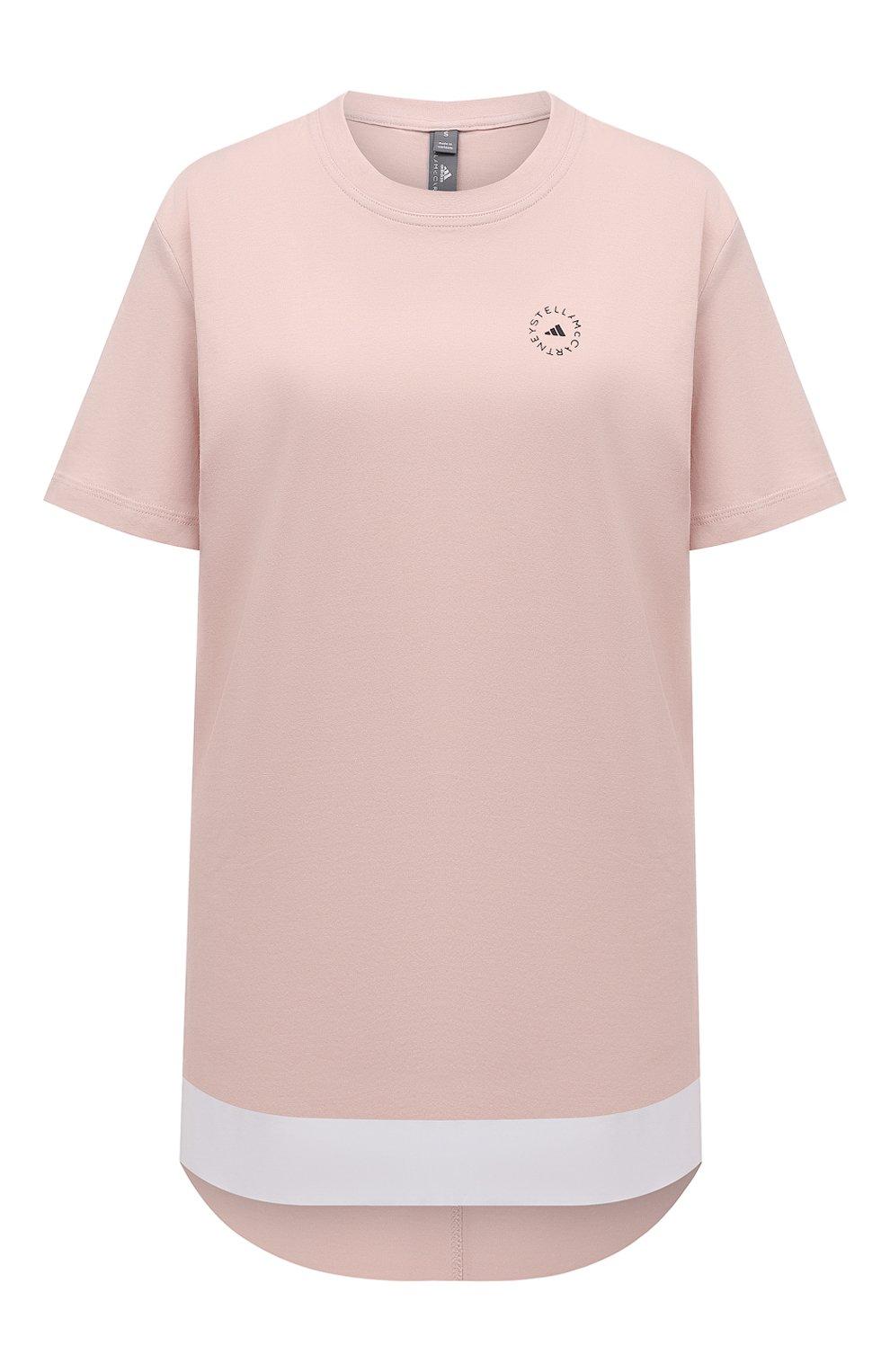 Женская хлопковая футболка ADIDAS BY STELLA MCCARTNEY розового цвета, арт. GL5269 | Фото 1 (Женское Кросс-КТ: Футболка-спорт, Футболка-одежда; Рукава: Короткие; Принт: С принтом; Длина (для топов): Удлиненные; Материал внешний: Хлопок; Стили: Спорт-шик)