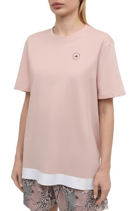 Женская хлопковая футболка ADIDAS BY STELLA MCCARTNEY розового цвета, арт. GL5269 | Фото 3 (Женское Кросс-КТ: Футболка-спорт, Футболка-одежда; Рукава: Короткие; Принт: С принтом; Длина (для топов): Удлиненные; Материал внешний: Хлопок; Стили: Спорт-шик)