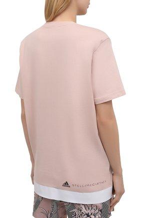 Женская хлопковая футболка ADIDAS BY STELLA MCCARTNEY розового цвета, арт. GL5269 | Фото 4 (Женское Кросс-КТ: Футболка-спорт, Футболка-одежда; Рукава: Короткие; Принт: С принтом; Длина (для топов): Удлиненные; Материал внешний: Хлопок; Стили: Спорт-шик)