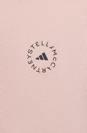 Женская хлопковая футболка ADIDAS BY STELLA MCCARTNEY розового цвета, арт. GL5269 | Фото 5 (Женское Кросс-КТ: Футболка-спорт, Футболка-одежда; Рукава: Короткие; Принт: С принтом; Длина (для топов): Удлиненные; Материал внешний: Хлопок; Стили: Спорт-шик)