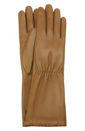 Женские кожаные перчатки BOTTEGA VENETA бежевого цвета, арт. 650548/3V00F | Фото 1 (Длина (верхняя одежда): Длинные)