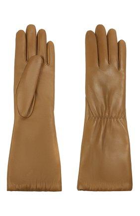 Женские кожаные перчатки BOTTEGA VENETA бежевого цвета, арт. 650548/3V00F | Фото 2 (Длина (верхняя одежда): Длинные)