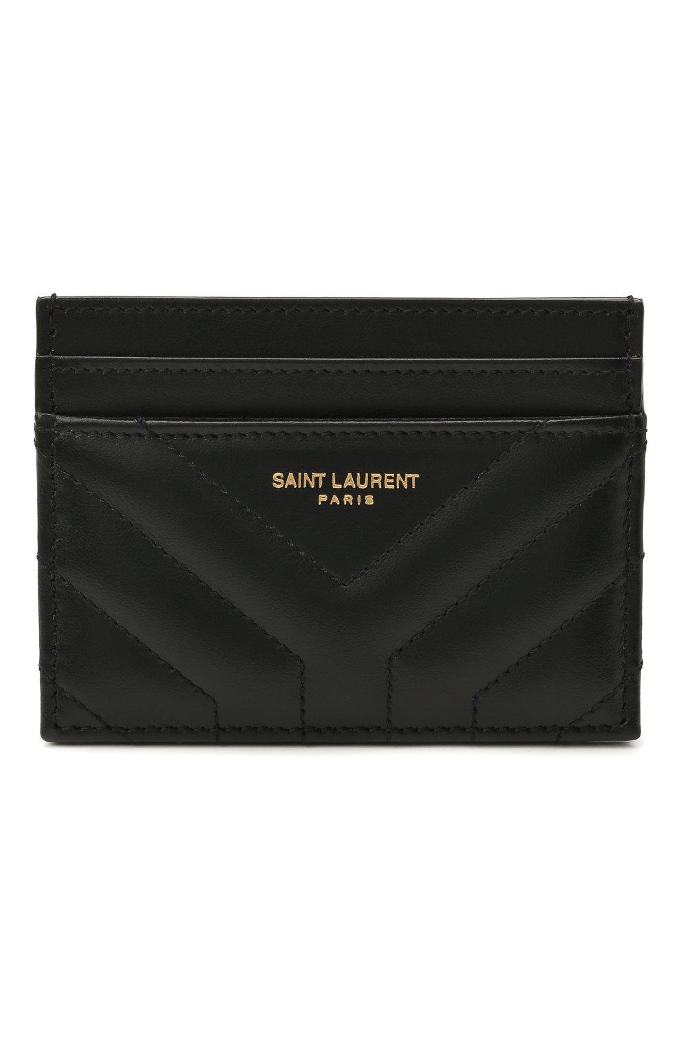 Женский кожаный футляр для кредитных карт SAINT LAURENT черного цвета, арт. 650954/DV701 | Фото 1