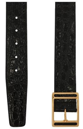 Женский кожаный ремень SAINT LAURENT черного цвета, арт. 650328/1ZQ0J | Фото 2 (Материал: Кожа)