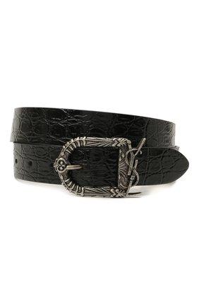 Женский кожаный ремень SAINT LAURENT черного цвета, арт. 533721/1ZQ0D | Фото 1 (Материал: Кожа)