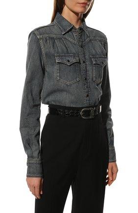 Женский кожаный ремень SAINT LAURENT черного цвета, арт. 533721/1ZQ0D | Фото 2 (Материал: Кожа)