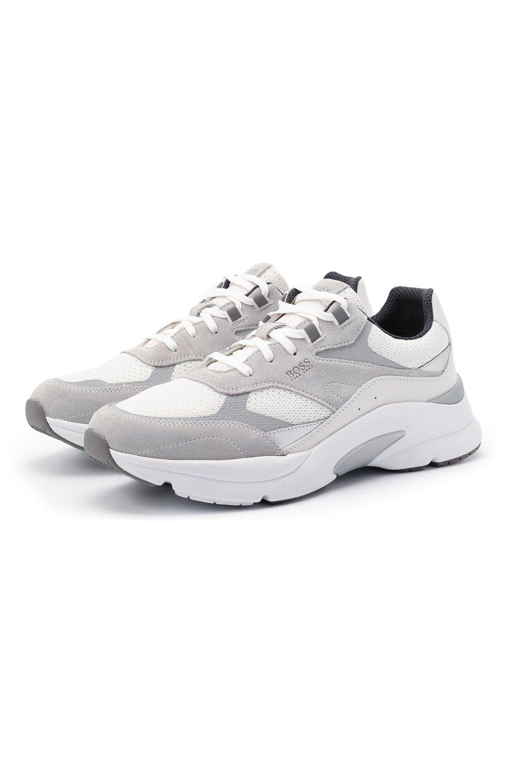 Мужские комбинированные кроссовки BOSS белого цвета, арт. 50446943   Фото 1