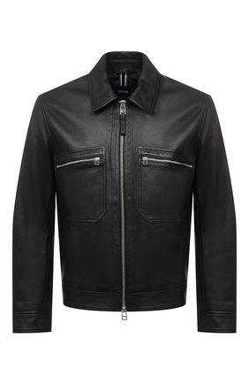 Мужская кожаная куртка BOSS черного цвета, арт. 50448951 | Фото 1