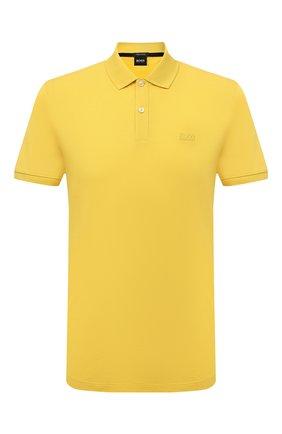 Мужское хлопковое поло BOSS желтого цвета, арт. 50425985 | Фото 1