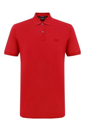 Мужское хлопковое поло BOSS красного цвета, арт. 50425985 | Фото 1