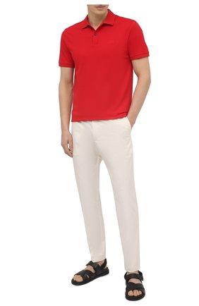 Мужское хлопковое поло BOSS красного цвета, арт. 50425985 | Фото 2
