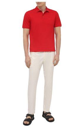 Мужские хлопковые брюки BOSS белого цвета, арт. 50448739   Фото 2