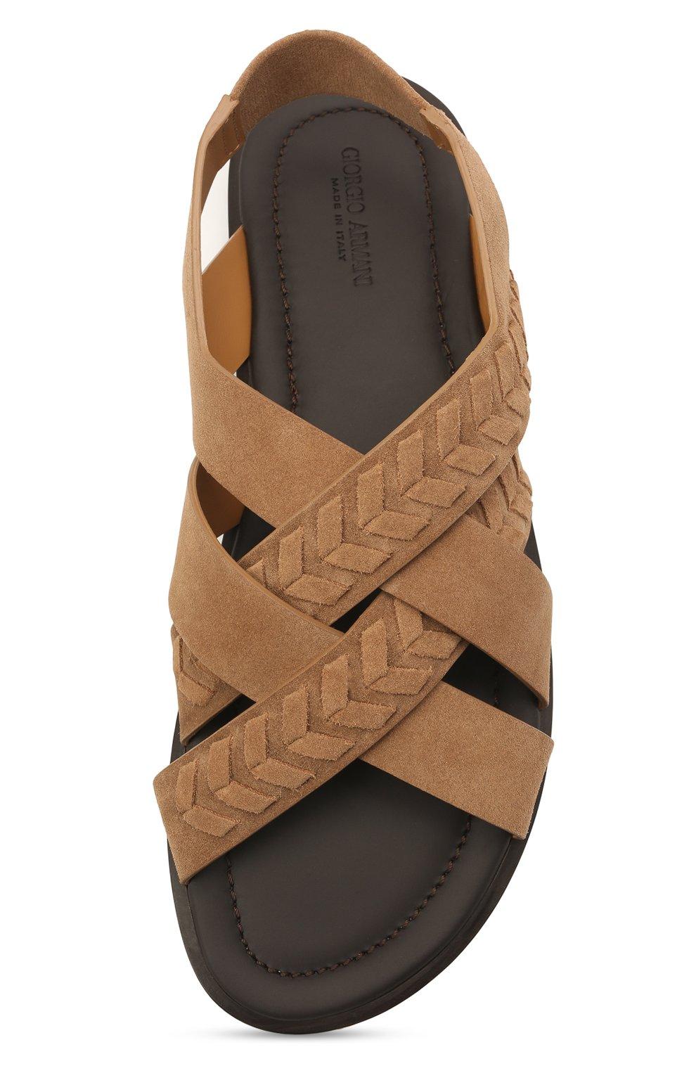 Мужские замшевые сандалии GIORGIO ARMANI бежевого цвета, арт. X2P073/XM818   Фото 5