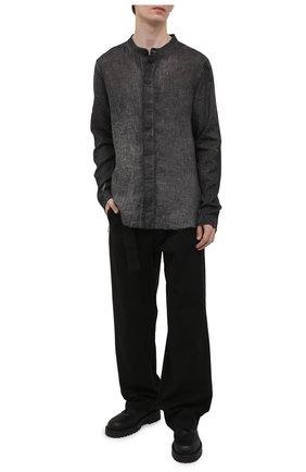 Мужская льняная рубашка THOM KROM темно-серого цвета, арт. M H 115   Фото 2