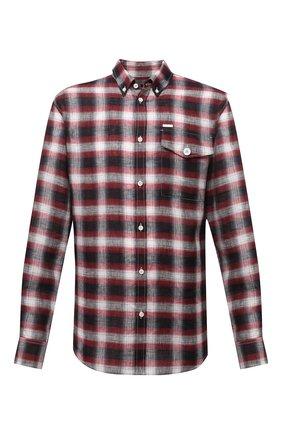 Мужская льняная рубашка DSQUARED2 разноцветного цвета, арт. S74DM0510/S53729 | Фото 1 (Рукава: Длинные; Длина (для топов): Стандартные; Материал внешний: Лен; Воротник: Button down; Случай: Повседневный; Манжеты: На пуговицах; Принт: Клетка; Стили: Гранж)