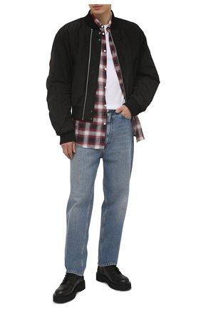 Мужская льняная рубашка DSQUARED2 разноцветного цвета, арт. S74DM0510/S53729 | Фото 2 (Рукава: Длинные; Длина (для топов): Стандартные; Материал внешний: Лен; Воротник: Button down; Случай: Повседневный; Манжеты: На пуговицах; Принт: Клетка; Стили: Гранж)