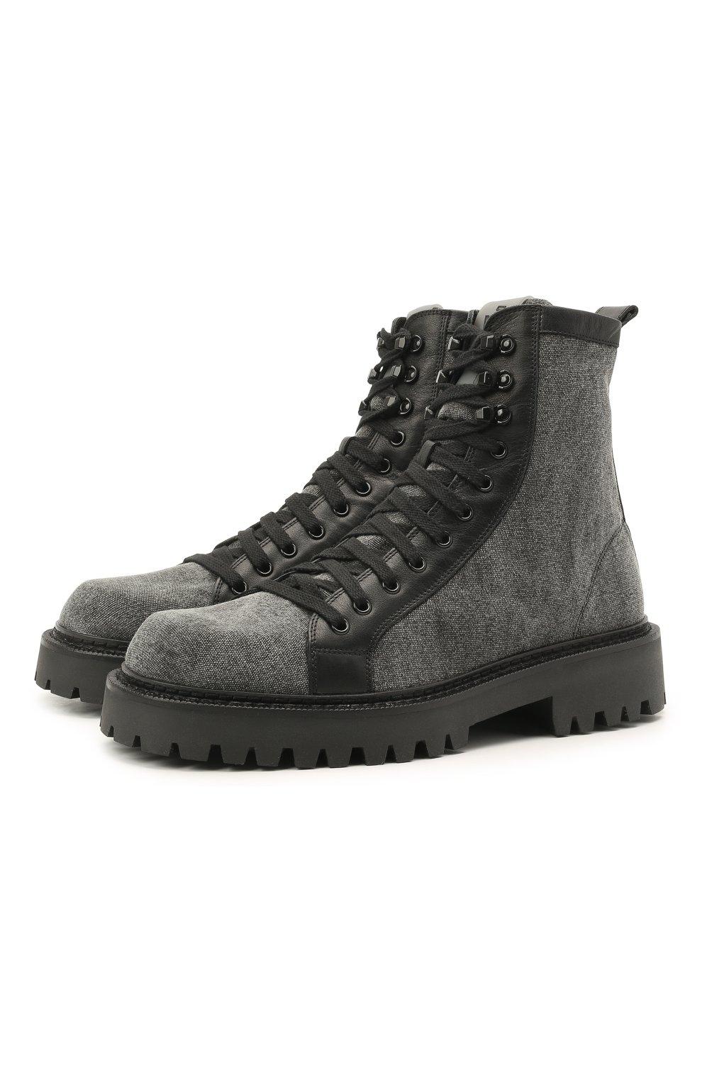 Мужские комбинированные ботинки VIC MATIE серого цвета, арт. 1Z5940U.Y02C8UB001   Фото 1